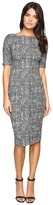 Maggy London Abstract Texture Bateau Neck Sheath