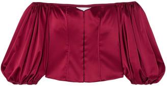 Caroline Constas Belen Off-the-shoulder Silk-blend Satin Top