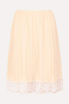 Paco Rabanne Lace-trimmed Plisse-crepe Skirt - Ivory