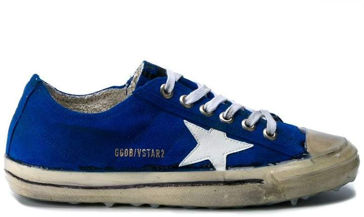 Golden Goose Blue V-Star 2 Suede sneakers
