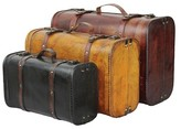 Quickway Imports Three Colored Vintage Style Luggage Suitcase (Set of 3)