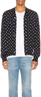 Comme des Garcons Dot Print Wool Cardigan with Black Emblem in Navy & Natural | FWRD