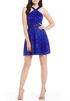 I.N. San Francisco Y-Neck Lace Illusion Waist Dress