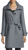 Burberry Gibbsmore Wool-Blend Single-Breasted Coat, Steel Gray Melange