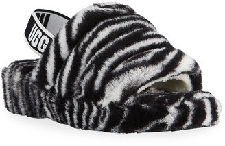 UGG Fluff Yeah Zebra-Print Shearling Platform Slippers