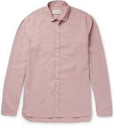 Oliver Spencer Clerkenwell Tab-Collar Mélange Cotton and Linen-Blend Shirt