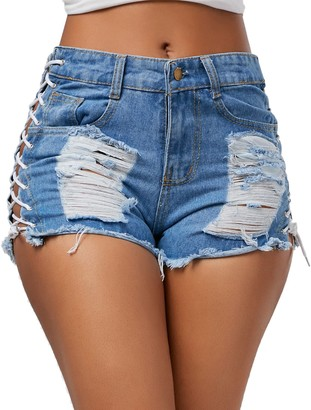 semen Womens Lace up Ripped Short Jeans Sexy Stretchy Destroyed Denim Shorts Mini Hot Pants Blue