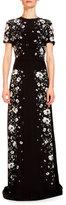 Erdem Samira Rose-Hip Printed Gown, Black/White