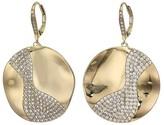 Nina Large Wavy Disk Drop Earrings (Gold/White CZ) Earring