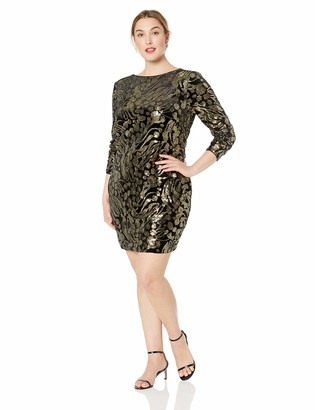 Dress the Population Women's Size Lola Long Sleeve Sequin Dress Plus Black/Gold 3X