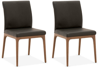 One Kings Lane Set of 2 Russell Side Chairs - Black Leather