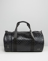Fred Perry Checkerboard Barrel Bag in Black