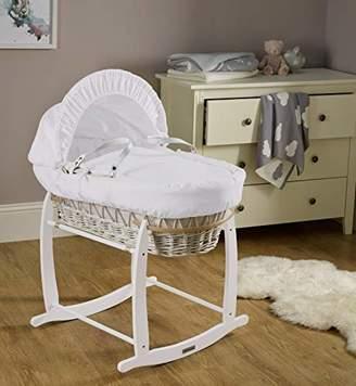 Clair De Lune Cotton Dream White Wicker Moses Basket - Grey