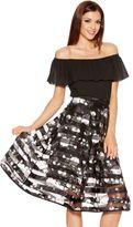 Quiz Black And White Mesh Floral Midi Skirt