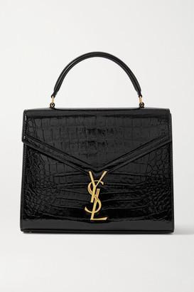 Saint Laurent Cassandra Medium Croc-effect Leather Tote - Black