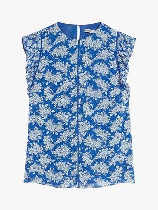 Oasis Cap Sleeve Ditsy Floral Pleat Top, Blue/Multi