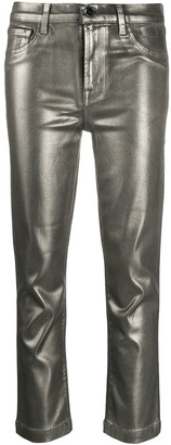 J Brand Ruby cropped metallic jeans
