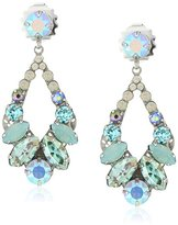 "Sorrelli Teal Textile"" Navette and Round Crystal Adornment Post Drop Earrings"