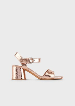 Emporio Armani High-Heeled, Crackled Leather Sandals