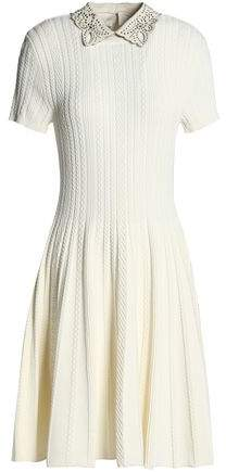 Valentino Leather-Trimmed Pleated Cable-Knit Dress