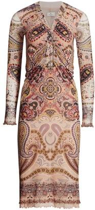 Etro Paisley Ruched Jersey Midi Dress