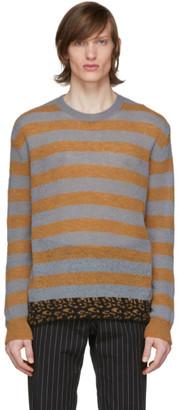 Dries Van Noten Grey and Orange Striped Sweater