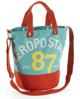 Aeropostale Distressed Aero Est 87 Colorblocked Canvas Tote