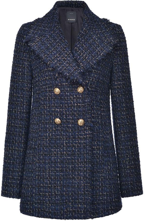 Pinko Tweed Double-Breasted Coat