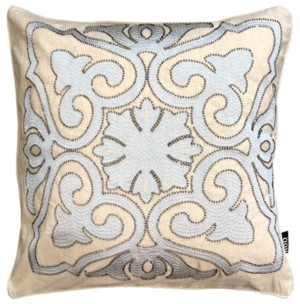 "Mod Lifestyles Decorative Collection Damask Beads Embroidery Pillow, 20"" X 20"""