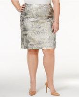 Calvin Klein Plus Size Metallic Jacquard Skirt