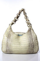 Nancy Gonzalez Beige Alligator Chain Link Double Handle Shoulder Handbag