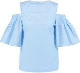 Iris and Ink Clarissa off-the-shoulder stretch-cotton twill top