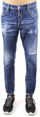 DSQUARED2 Skinny Fit Jeans In Distressed Denim With Dean & Dan Embroidery