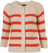 Topshop Knitted Bright Red Stripe Cotton Cardigan