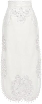 Zimmermann Ninety-six Ric Rac Embellished Burnout Linen-canvas Midi Skirt
