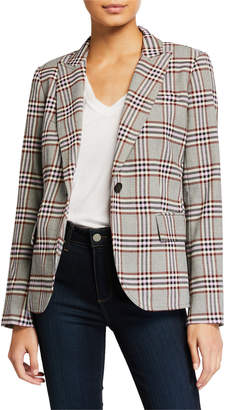 Derek Lam 10 Crosby Plaid Single-Button Blazer w/ Pockets