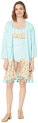 Cabana Life Aqua Citrus Coverluxe Kimono Cover-Up (Mint Multi) Women's Swimwear