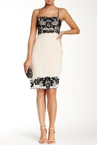 Sue Wong Floral Embroidered Trim Sheath Dress R5105