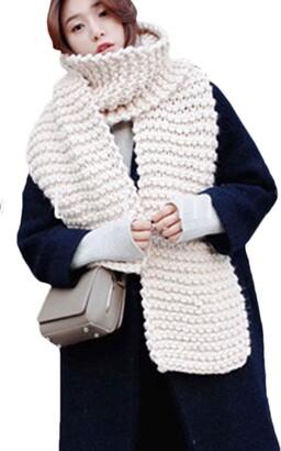 Vosujotis Women Elegant Winter Long Warm Scarf Thick Chunky Knit Scarfs Beige One One Size
