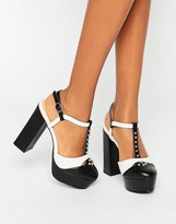Daisy Street T-Bar Studded Mega Platform Shoes
