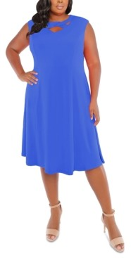 London Times Plus Size Cross-Neck Fit & Flare Dress