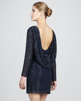 Aidan Mattox Sequined Cowl-Back Dress