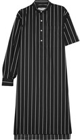 Balenciaga Striped Cotton-poplin Shirt Dress - Black