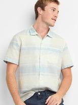 Gap Linen-cotton stripe short sleeve shirt