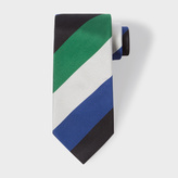 Paul Smith Men's Black, Green, Navy and Ivory Diagonal Stripe Silk Tie
