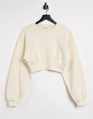 Steele fleece contrast rib sweater in ecru