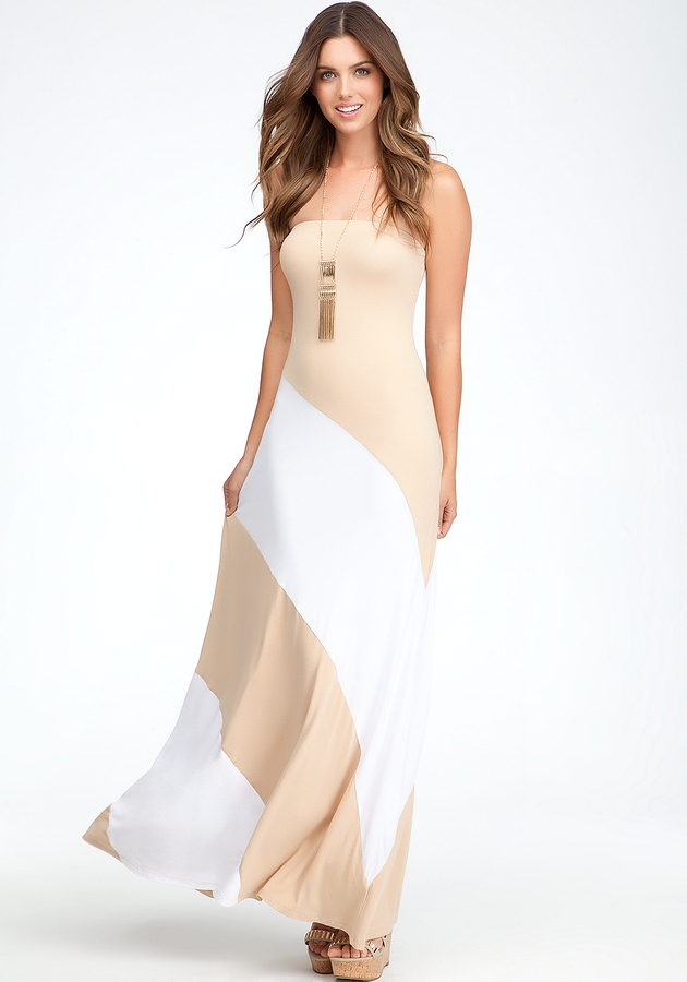 Bebe Colorblock Strapless Maxi Dress - PETITES