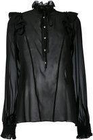 John Richmond sheer ruffle neck blouse - women - Silk - S