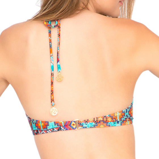 Luli Fama Wild & Free Weave Fringed Halter in Multicolor (L456299)