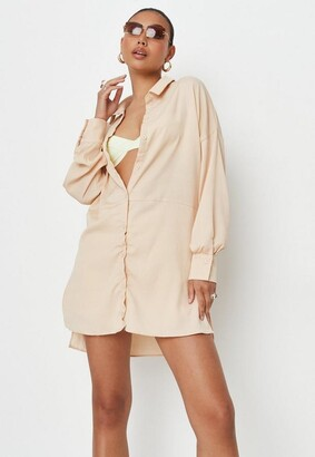 Missguided Peach Textued Utility Shirt Dress